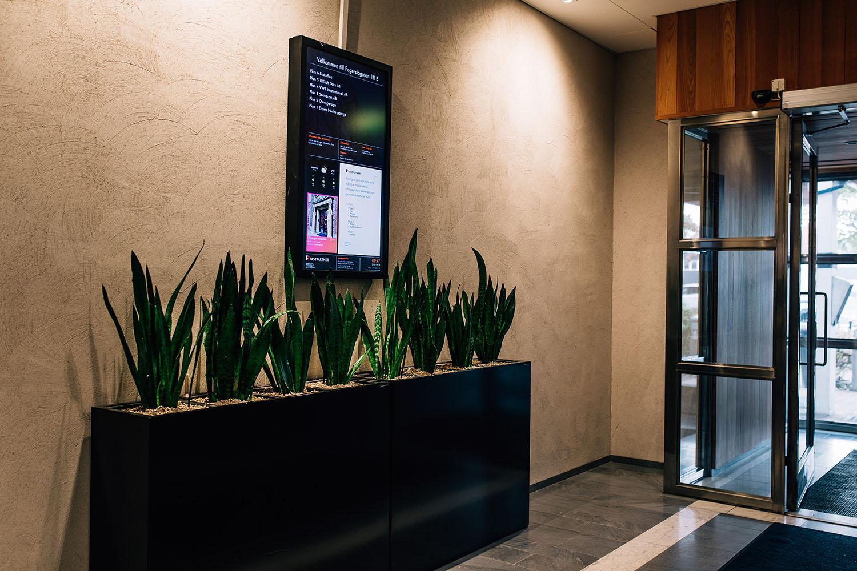 Digital signage at our real estate customer Fastpartner in Stockholm Sweden