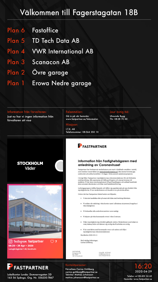 Screen layout at our customer Fastpartner – Digital signage for Real estate
