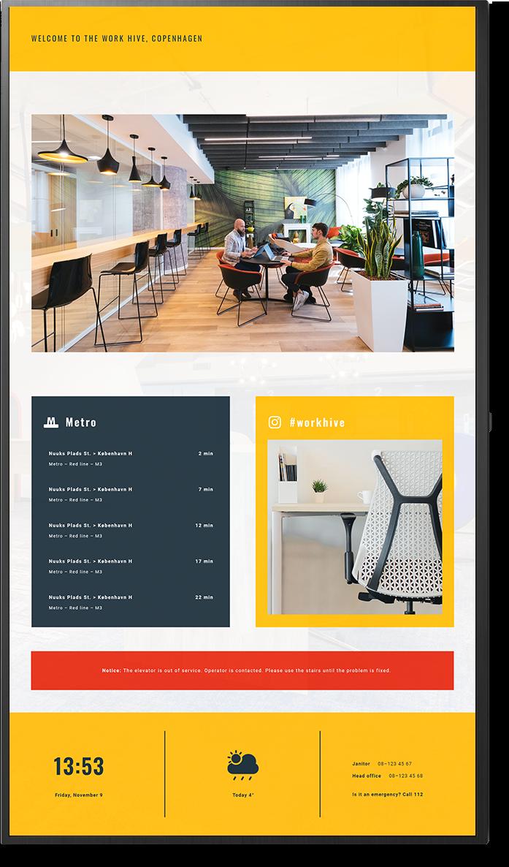 Digital signage design for facility management